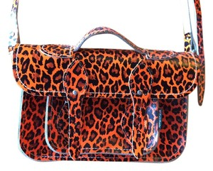 Zatchels Leopard Print Satchel in Orange