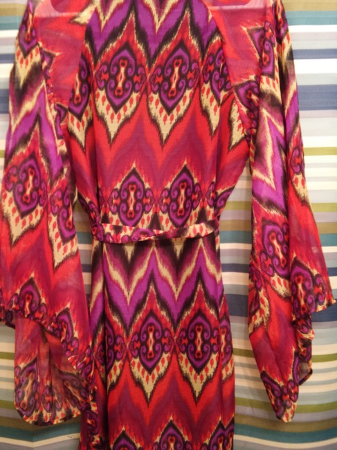 Maude short dress coral purple Boho Ikat Vibrant Shift Billowing Flowy Summer Summer Belted Artistic Bright Coral Black on Tradesy
