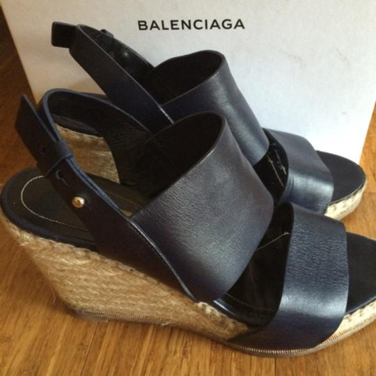 Balenciaga Navy Wedges