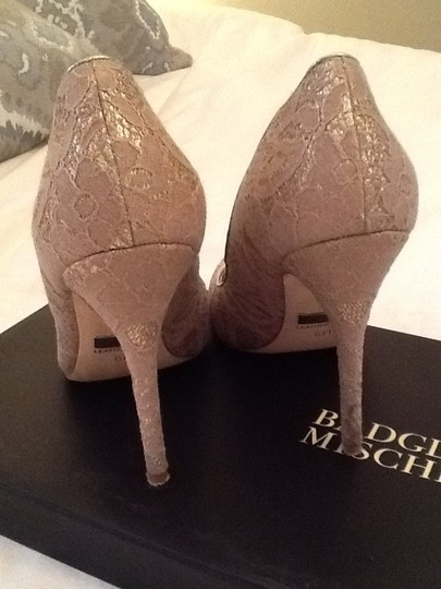 Badgley Mischka Lace Stiletto Gold and ivory Formal