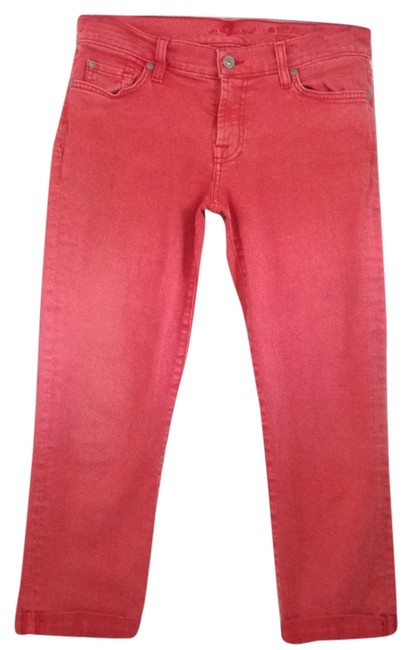 Item - Red Skinny Crop & Roll Capri/Cropped Jeans Size 29 (6, M)