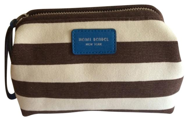 Item - Singature Stripe Brown and White Canvas Wristlet