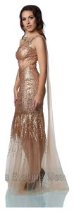 Jovani Sheer Sequin One Long Gold Mermaid Dress