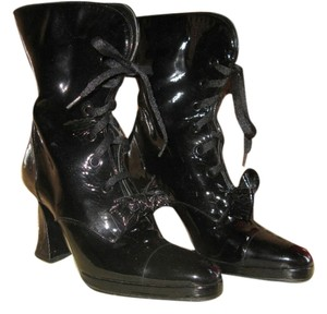 Chanel Vintage Patent Leather Bow Black Boots