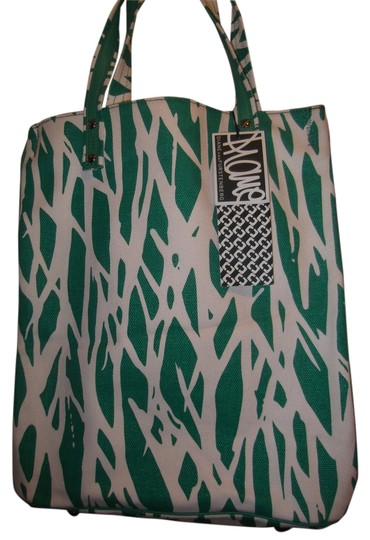 Diane von Furstenberg Re-issued Vintage Print Silver Hardware Leather Accents Cell Phone Pocket Hologram Tag Tote in Bright Green and White