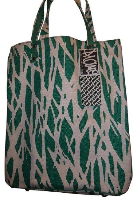 Item - Lori Printed Tall Twiggs Leather Beach Bright Green and White Canvas Tote