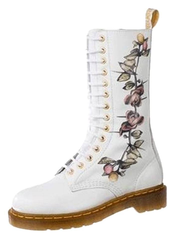 Dr martens white ltd edition louise body 14 eye bootsbooties size dr martens limited edition flowers louise body white boots mightylinksfo