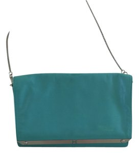 Halston Leather Tourquise Chain Strap Shoulder Bag