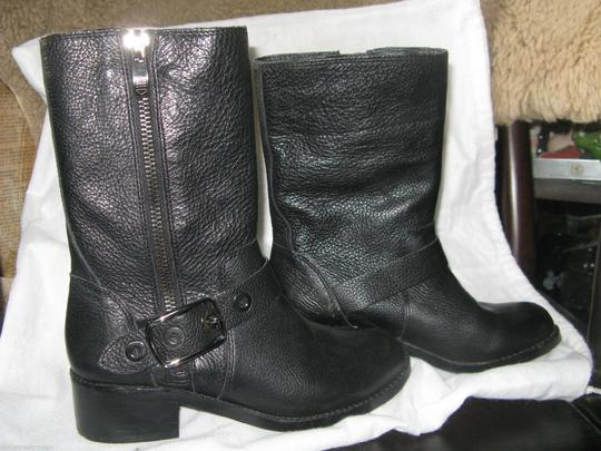 Vince Camuto Studs Rhinestone Bling Zippers Motorcycle Black Boots