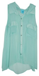 H.I.P. Collar Button Up Tank Sheer Button Down Shirt Light Green