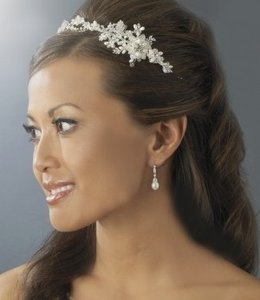 Elegance By Carbonneau Freshwater Pearl And Crystal Bridal Headband