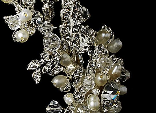 Elegance by Carbonneau Silver Freshwater Pearl and Crystal Headband Hair Accessory