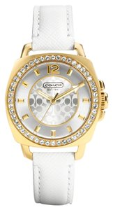 Coach Coach Boyfriend 14501790 White Leather Strap Signature Glitz Watch