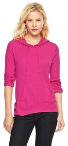 Gap Hoodie Waffle Knit Pockets Drawstring Textured T Shirt Paradise Pink