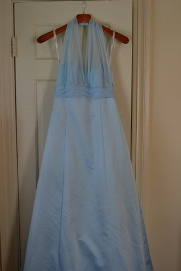 David's Bridal Blue Satin 81441 In Capri Formal Bridesmaid/Mob Dress Size 8 (M)