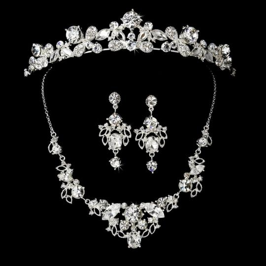 Elegance By Carbonneau Stunning Silver Plated Rhinestone Tiara And Jewelry Set