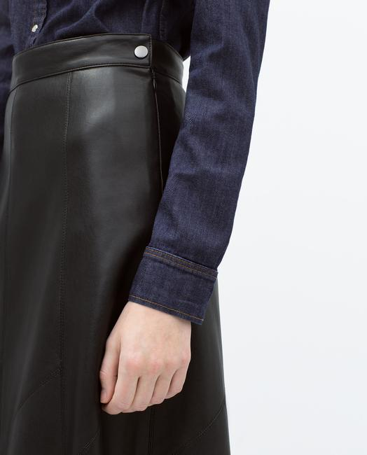 Zara Leather Vegan Faux Leather Long Skirt Black