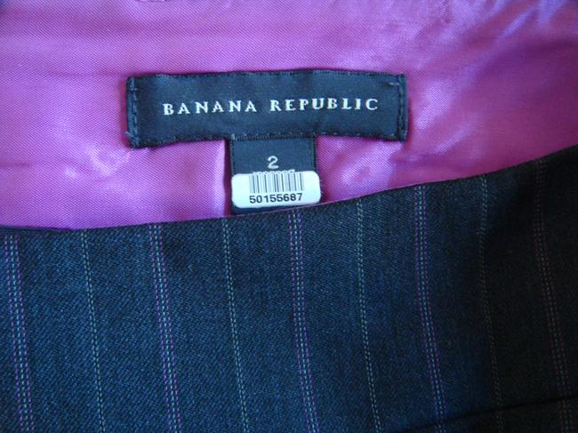 Banana Republic Pencil Business Pleat Skirt Charcoal Gray with Purple and White Pinstripe