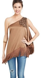 Calypso St. Barth Offtheshoulde Fringe Silk Top brown