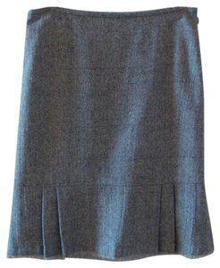 White House | Black Market Pleat Fringe Hem Skirt Black and Gray Tweed
