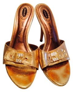 Dr. Scholl's Comfortable Metallic Metallic Hardware Cushioned Sandal Summer Open Toe Gold Metallic Platforms
