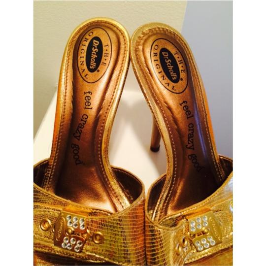 Dr. Scholl's Comfortable Hardware Cushioned Sandal Summer Open Toe Gold Metallic Platforms