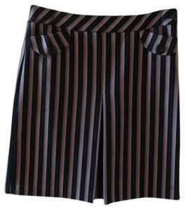 Ann Taylor LOFT Pencil Business Wide Pleat Skirt Black with Purple Pinstripe