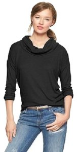 Gap Cowl Neck Waffle Knit Henley Long Sleeve T Shirt Black