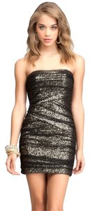 bebe Mesh Sequin Sparkle Gold Dress