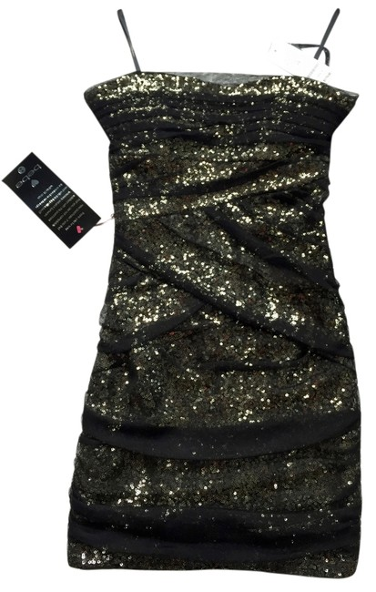 bebe Mesh Sequin Sparkle Gold Party Dress