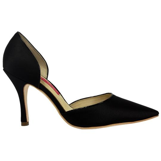 MS Shoe Designs Satin Pointed Toe Black Pumps