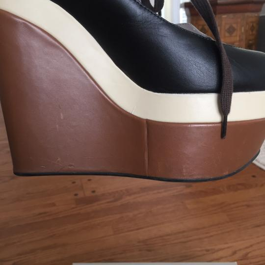 Marni Brown, cream and black Wedges