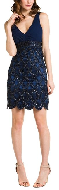 Sue Wong Beaded Cocktail Scalloped Dress