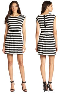 Alice + Olivia short dress Black & White Striped Cap Sleeve on Tradesy
