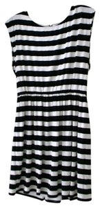 Alice + Olivia short dress Black/White Striped Cap Sleeve on Tradesy