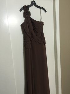 David's Bridal Brown David's Bridal One Shoulder Dress