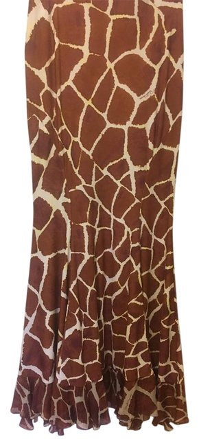 Item - Girafe Print Brown & White Summer Evening Outfit . Long Night Out Dress Size 12 (L)