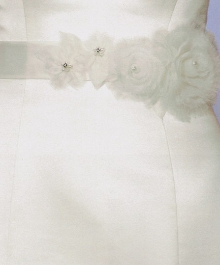 Ivory/ Organza and Tulle Flower Sash