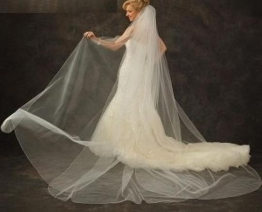 J.L. Johnson Bridals White Ivory Or Diamond White Long Custom Made Cathedral Length Petal Bridal Veil