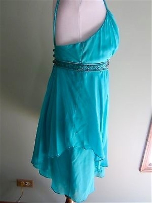 Rebecca Taylor Turquoise Silk Beaded Strapless Dress