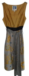 Edme & Esyllte short dress Gold, black, blue and cream Vintage Sheath Sleeveless on Tradesy