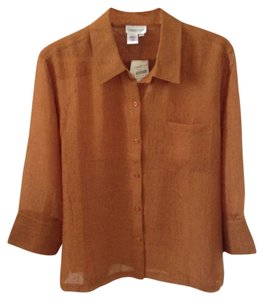 Coldwater Creek Gauze Polyester Button Down Shirt Bronze