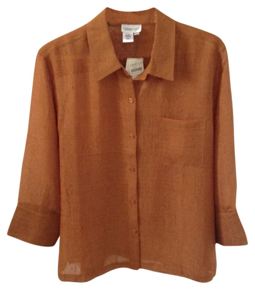 Coldwater creek bronze gauze polyester button down shirt for Gauze button down shirt