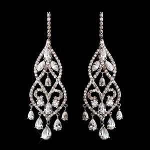 Elegance By Carbonneau Fabulous Cz Chandelier Bridal Earrings