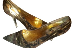 If Carrini Gold/Mustard Pumps