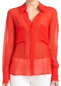 BCBGMAXAZRIA Button Down Shirt Red