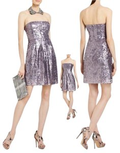 BCBGMAXAZRIA Strapless Lilac Sequined Dress