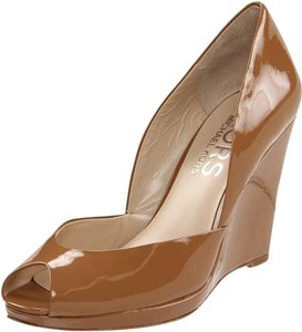 Michael Kors Nude Patent Leather Platform Cork Wedges