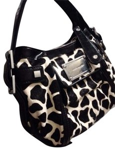 Karen Millen Pony Hair Patent Leather Satchel in Black And White