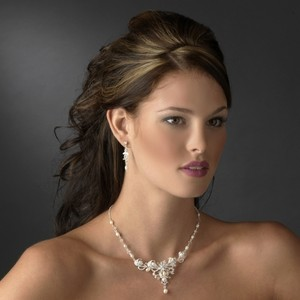 Elegance by Carbonneau Silver/Ivory Pearl and Crystal Jewelry Set